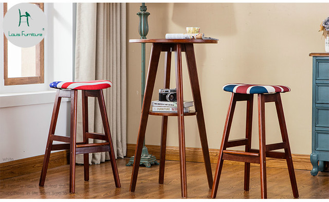 Louis Fashion Simple Wooden Table Modern Bar Square Coffee Small Apartment Counter