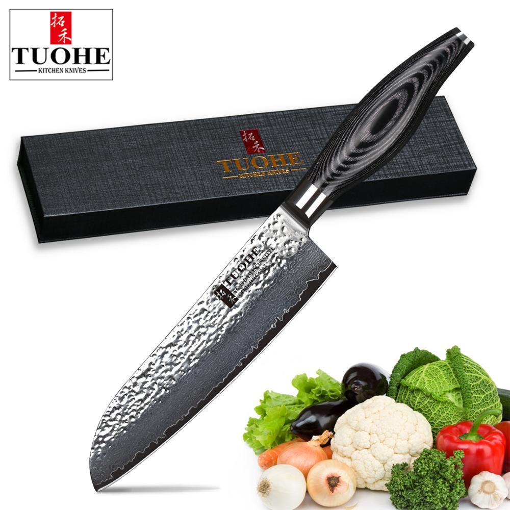 TUOHE Professional 7 Inch Santoku Knives Japanese Kitchen Chef Knife ...