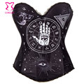 Corzzet Black Cotton Eye and Hand Partter Overbsut Corset Waist Trainer Steel Boned Bustier Tops Burlesque Gothic Women Clothing