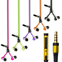 3.5mm Earphones Novelty Zipper In-Ear Stereo Earpieces for Mobile Phone Portable Earphone With Mic Smart for i-Phone/Xiaomi PC