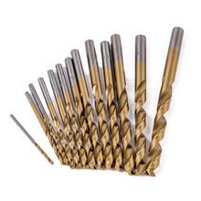 Купить с кэшбэком 13pcs Titanium Coated Twist Drill Bits High Speed Steel Woodworking Tools Set 1.5/2/2.5/3./3.2/3.5/4/4.5/4.8/5/5.5/6/6.5mm