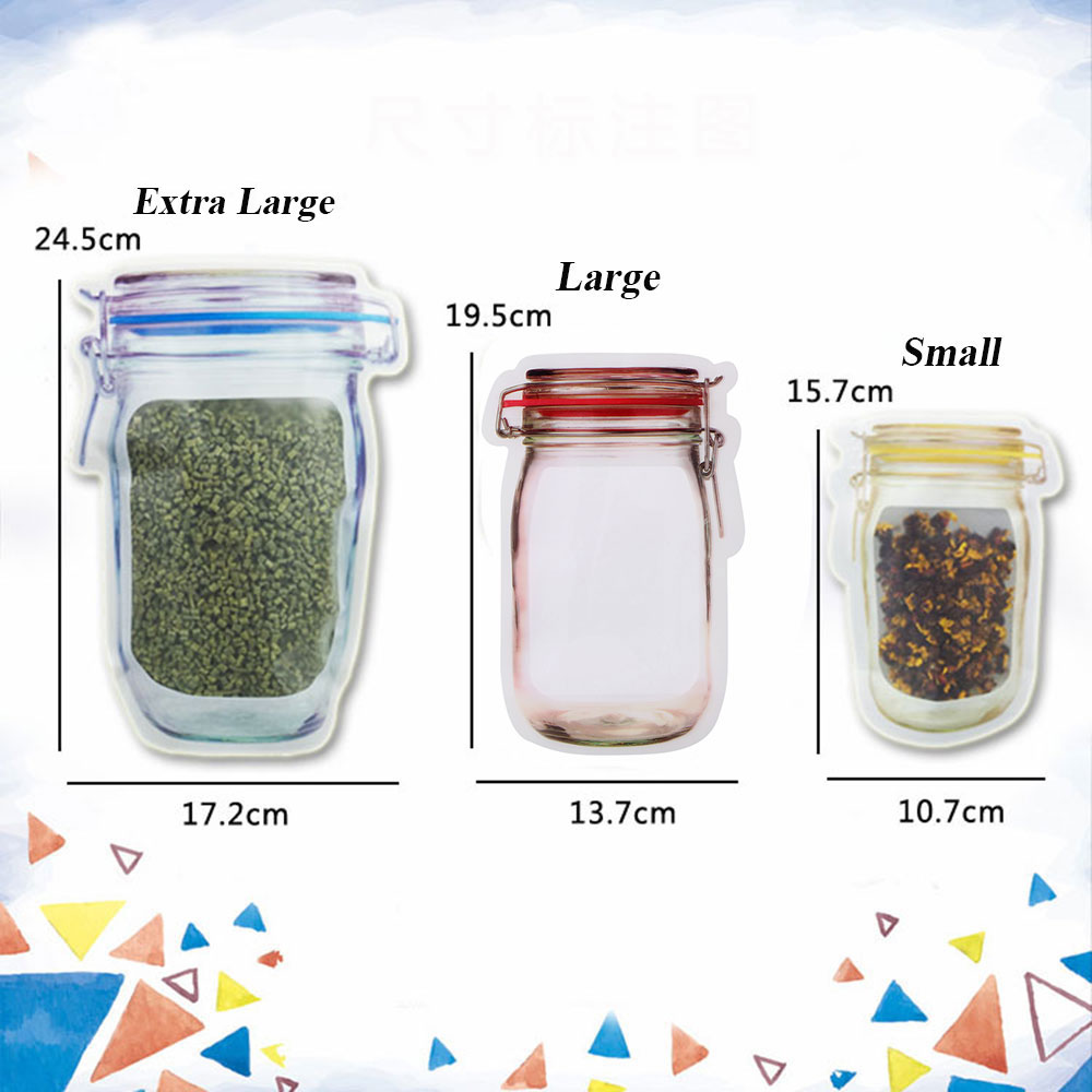 5pcs Redyellowblue Mason Jar Pe Lock Pouches Food Storage Zipper