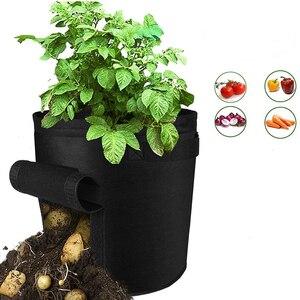 Image 4 - Bolsa de cultivo de patatas tomates con asas maceta para verduras flores bolsas plantación de jardín doméstico accesorios Caja de cultivo cubeta