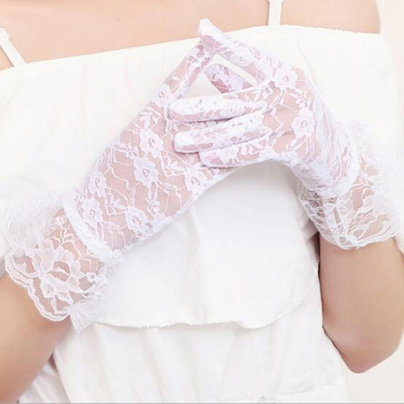 Girl Lace Gloves 2019 Spring Summer Elastic Sun Protection Solid Sunscreen Summer Gorgeous Pink Finger Gloves Accessories Sexy