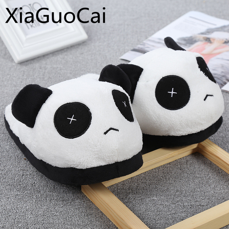 Panda Animal Cartoon Women Flat Slippers Cute Fashion Female Flat Winter Indoors Slippers Fur Plush Shoes
