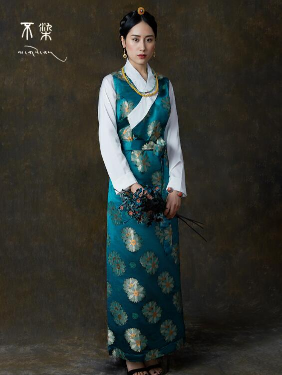 Traditional Chinese Clothing Tibetan Dress Women Satin