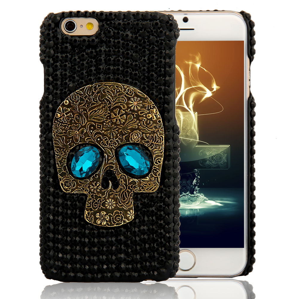 Handmade Diamond Metal saphire eye Skull back Cover phone case for Iphone 5 5s 6 6 plus for Samsung galaxy S6 S7 S6 edge