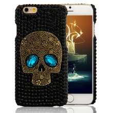 Handmade Diamond Metal saphire eye Skull back Cover phone case for Iphone 5 5s 6 6