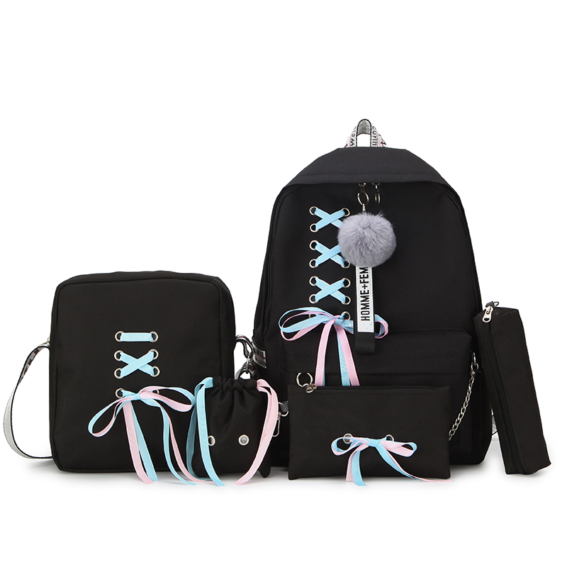 Women Backpack Schoolbags Canvas Teenage Mochilas for Girls Infantil Sac Dos 5pcs/Set