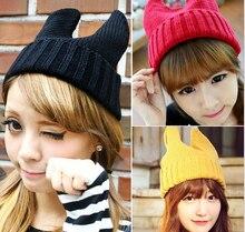 16 цветов симпатичные кошачьи уши шапки корейский шерстяной женщин людей рог вязаные шапки лыж hat бесплатная доставка