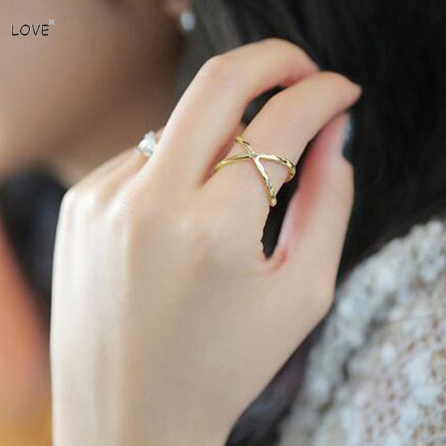 Korean Style Simple Fashion Cross Design Gold Index Finger -7803