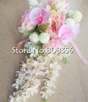 Artificial Peony Thai Orchid Flower Bouquet Wedding Bride Bouquets Silk Hybrid Style Flower Pink Color Bridal