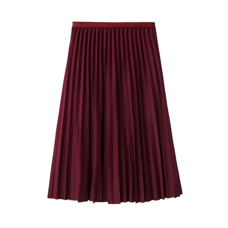 Hot Sale Summer Women's Swing Pleated Skirt Solid High Elastic Waist New A-Line Tulle Ladies Casual Mid-Calf Skirt