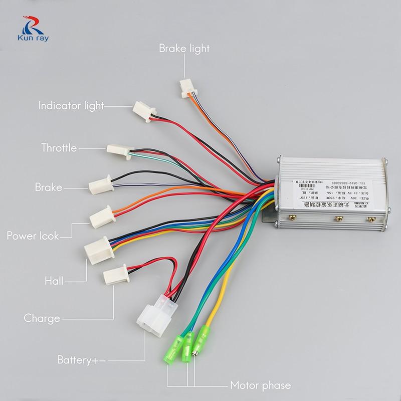 Electric Bike Controller 250W 350W 24V 36V 48V Sine Wave Brushless Motor Controller Electric