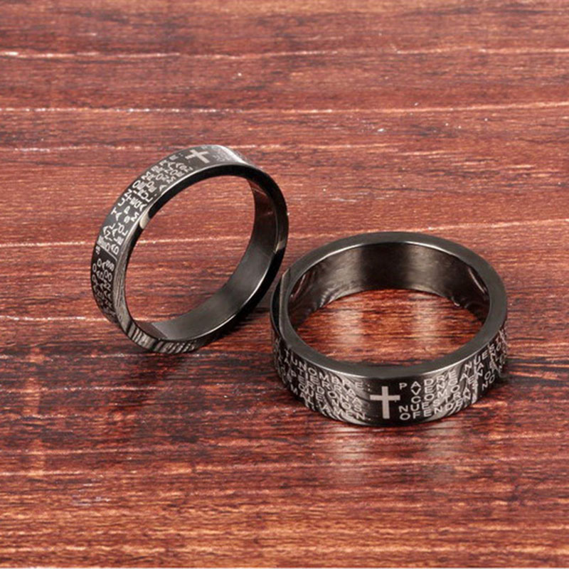 80966722fe Classic Cross Jesus Titanium Stainless Steel Personalized Black Lovers  Rings Jewelry Ring for Men Women Couple Gifts XGM0005-in Rings from Jewelry  ...