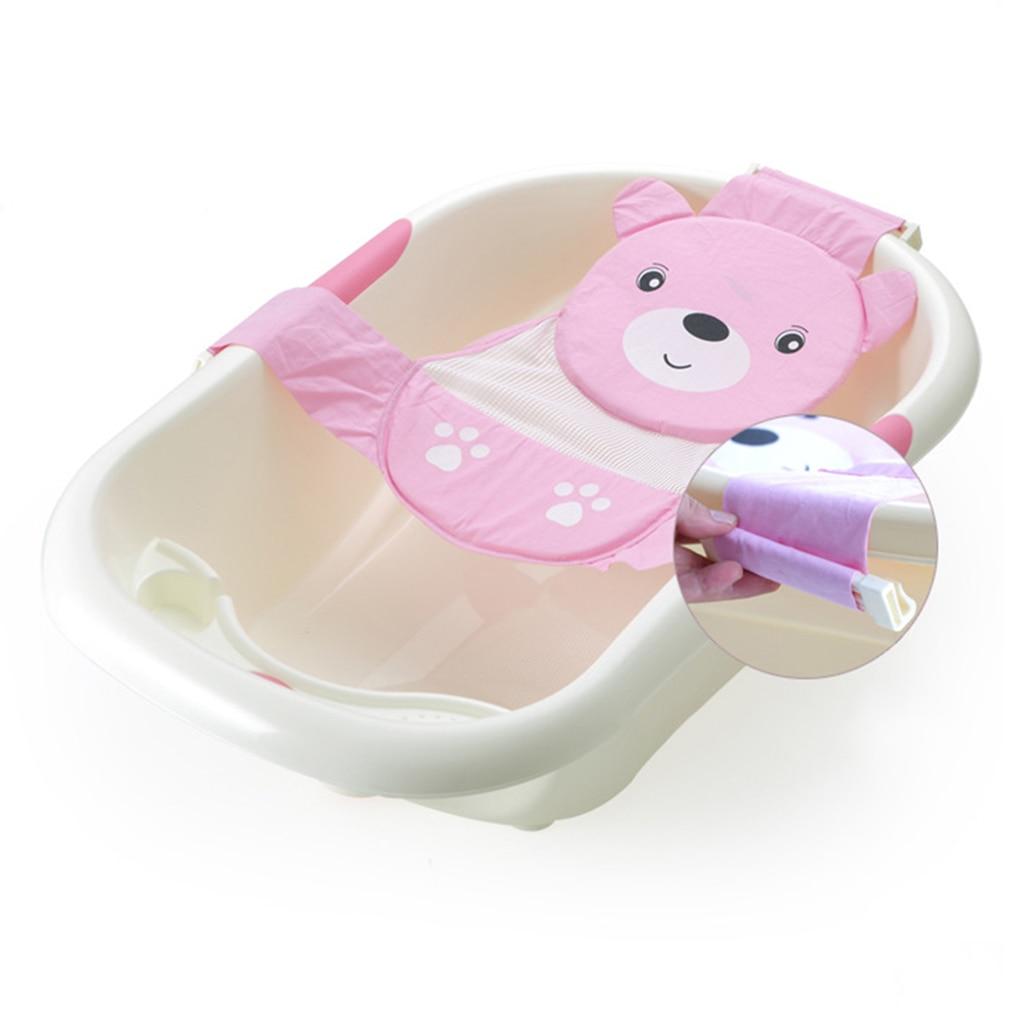 Adjustable Baby Bathtub Cartoon Pattern Bath Seat Newborn Safety Security Bathing Pad Support Kids Shower