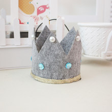 Cartoon Fabric Child Crown Cap Birthday Celebration Baby Shower Hat Cute Party Supplies Photo Props (Grey)(China)