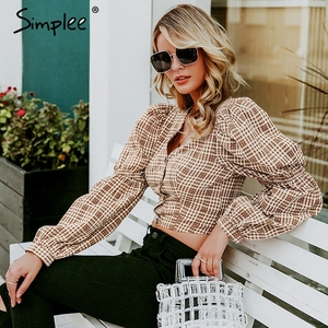 Image 3 - Simplee Vintage ekose gömlek kadın bluz seksi backless lace up kadın üst gömlek sonbahar puf kollu büyük boy bayan bluz gömlek