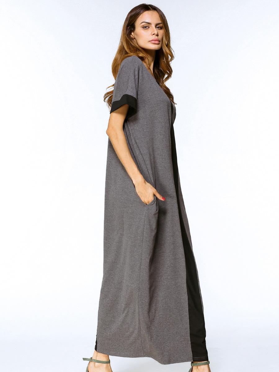 Casual Muslim Maxi Dress Plus Size T Shirt Dresses Abaya Loose Style