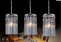 Modern 3 heads E27 K9 Crystal glass clear pendent light lamp lighting fixture droplight bedroom dining room SJ100