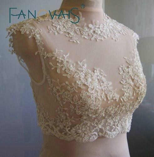 White ivory sequins applique sleeveless wedding bolero for White bolero for wedding dress
