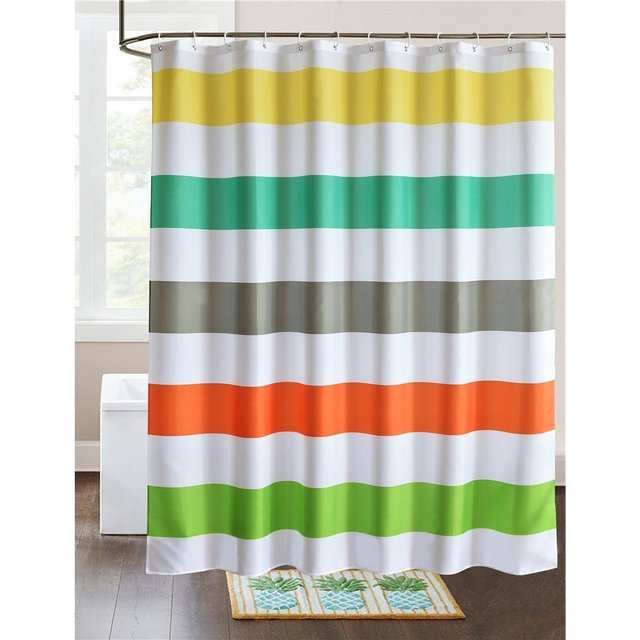 Waterproof Stripe Design Shower Curtain 60x 72IN For BathroomWhite Yellow Turquoise Grey Red Green