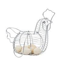 Metal Storage Basket For Kitchen Eggs Organizer Case Holder Vegetables Container Silver Chicken Shape Iron Wire Baskets Home