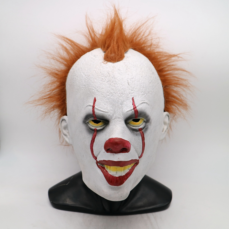 Joker Clown Cosplay Costume Stephen King's Mask Creepy Scary Evil Halloween Pennywise Mask Ghost Festive Party Latex Mask