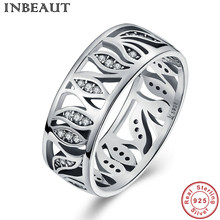 INBEAUT Real 925 Sterling Silver Hollow Cubic Zirconia Ring Perfect Cut Micro Halo Stone Paved Leaf Shaped Ring Girl Jewelry