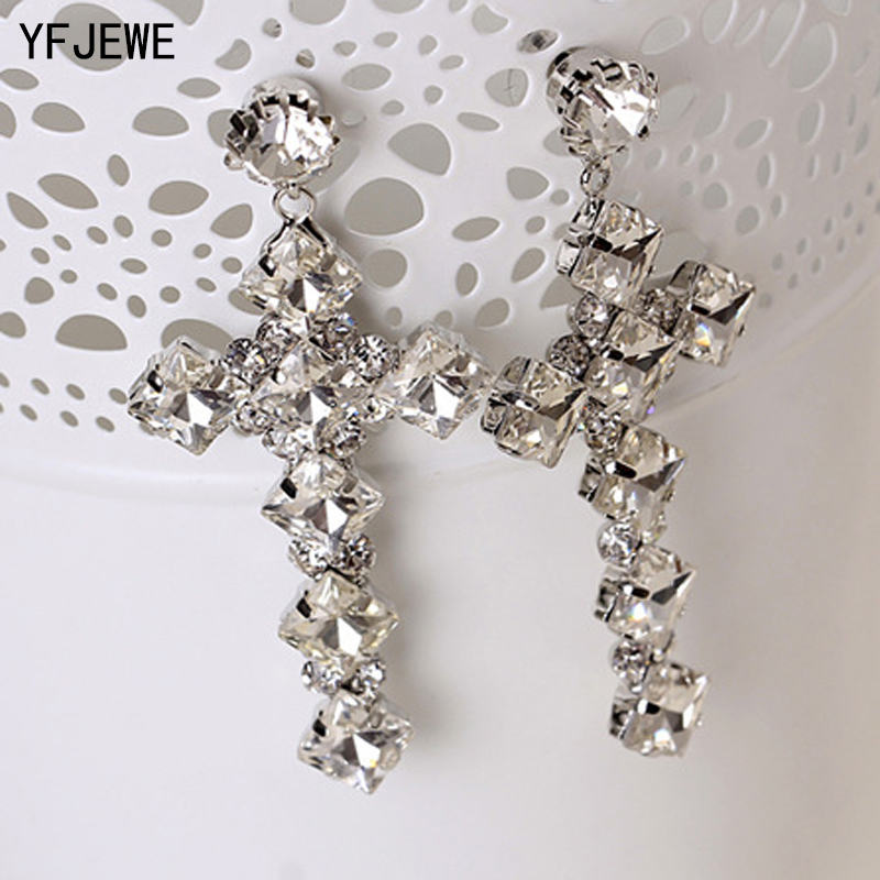 YFJEWE 2018 New Fashion Europe And the United States Popular Charismatic Cross Crystal Earrings Women Wedding Earrings #E202