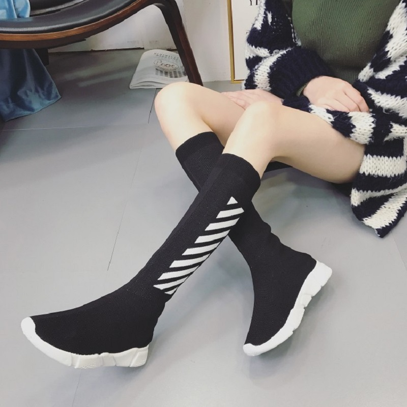 2018 autumn and winter new stretch stovepipe boots fight color knitted casual boots women white high boots