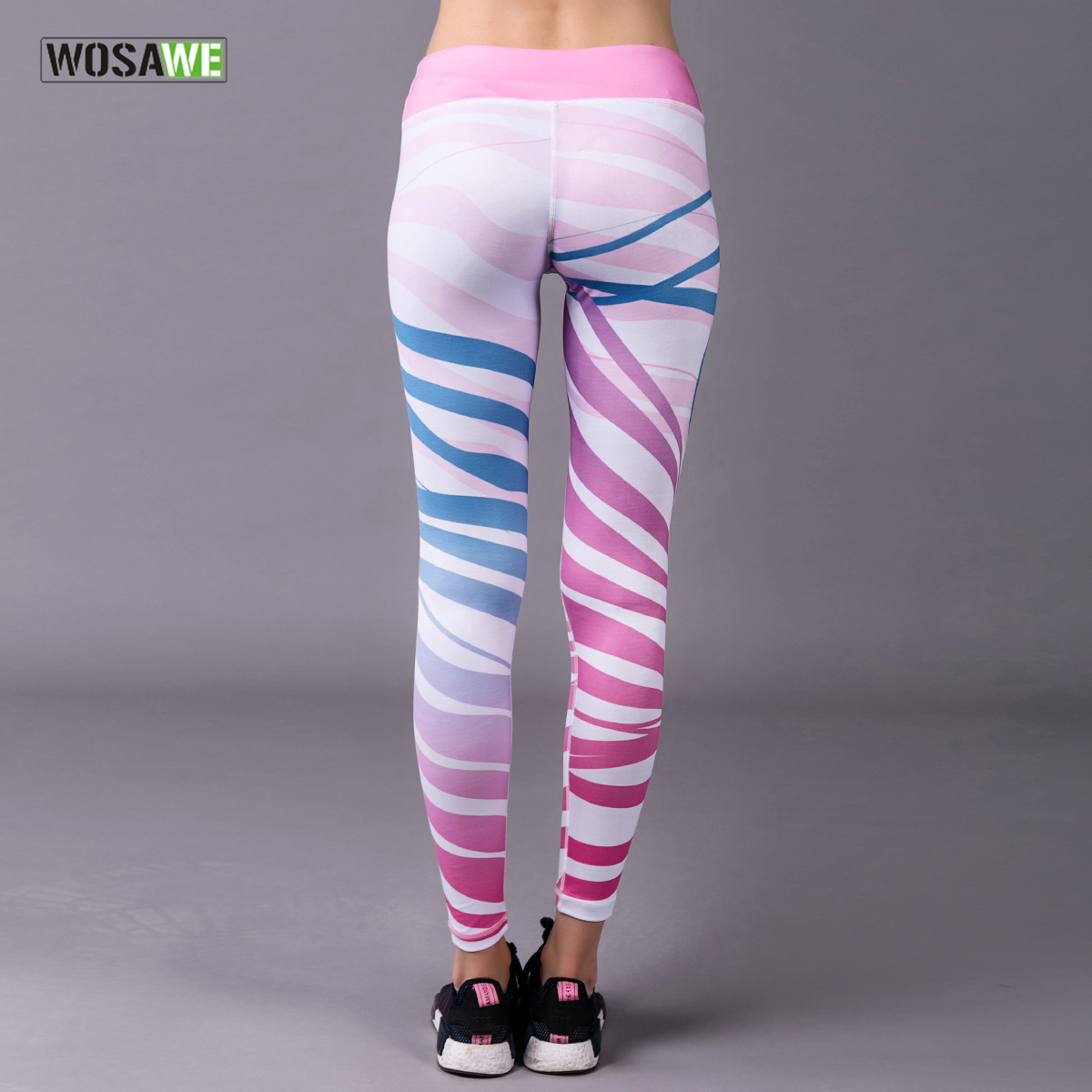 WOSAWE Printed Yoga Pants Quick Dry Slim Gym Running Sports Pant High Waist Fitness Leggings Compression Workout Tights 9/10