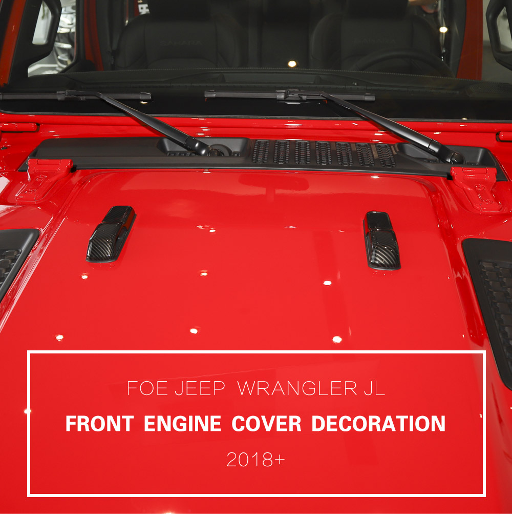 X1 SHINEKA Car Stickers for Jeep Wrangler JL 2018 ABS Car Engine Hood Hinge Cover Decoration for Jeep Wrangler JL