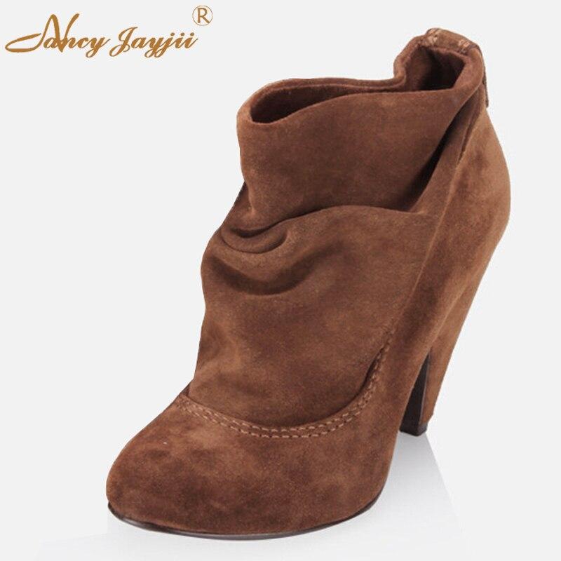 Retro Brown Flock Women Shoes Low Spike Heel Ankle Boots Pleated Suede Dress Woman Autumn Shoes Bottes a Talon Plus Size 4-16