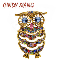 CINDY XIANG Rhinestone Waving Owl Brooches For Women Animal Pin Fashion Bird Jewelry Vintage Brooch High Quality 4 Colors Choose
