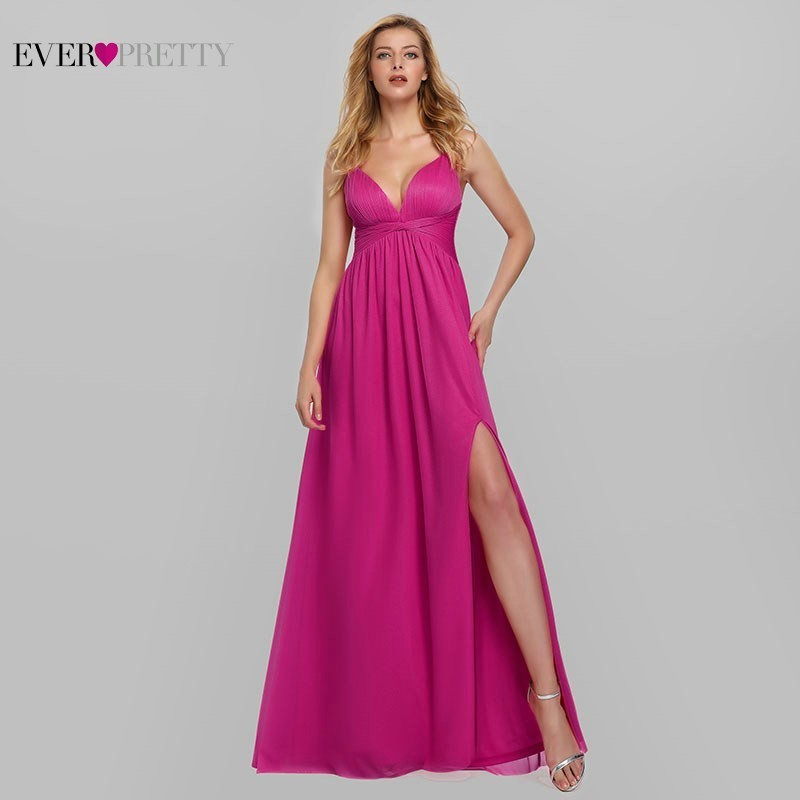 Hot Pink Bridesmaid Dresses Ever Pretty A-Line V-Neck Sleeveless Long Dresses For Wedding Party For Woman Vestido Madrinha 2020