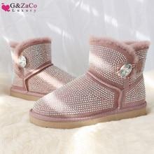 G&Zaco Luxury Sheepskin Boots Short Boots Fur Snow Boots Rhinestone Crystal Natural Wool Flat Sweet Rubber Winter Women Boots