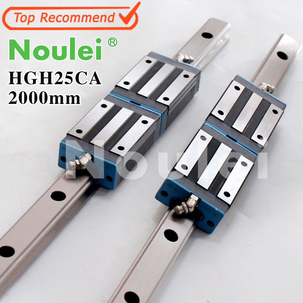 Noulei Linear Guide 2pcs HGR25 2000mm Rail +4pcs HGH25CA HGH25 Carriages for CNC parts linear guide rails free shipping to argentina 2 pcs hgr25 3000mm and hgw25c 4pcs hiwin from taiwan linear guide rail