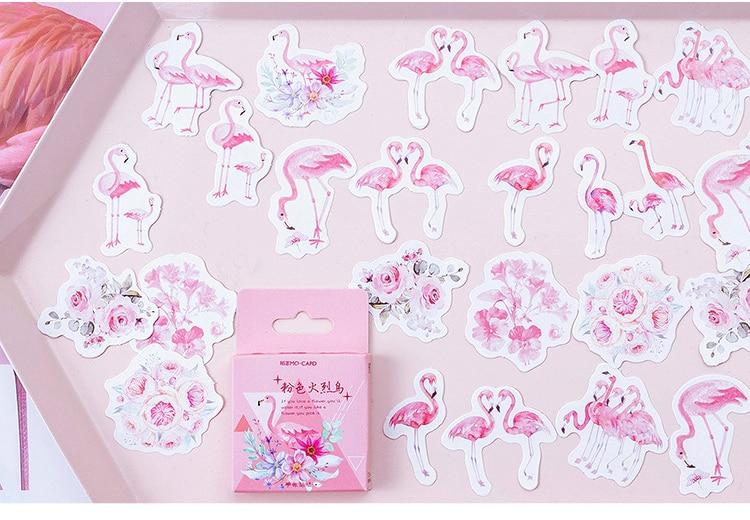 Купить с кэшбэком 45PCS/PACK Kawaii Cute Flamingo Sticker Marker Planner DIY Diary Decorate School Stickers Scrapbooking Bullet Journal sl1803