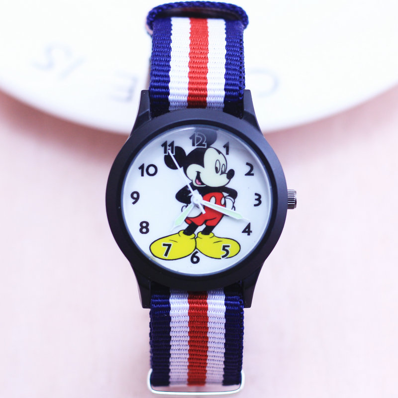 2018 Luxury Children Army Watch Mickey Boys And Girls Sports Luminous Hands Nylon Quartz Wristwatches Clock Christmas Gift