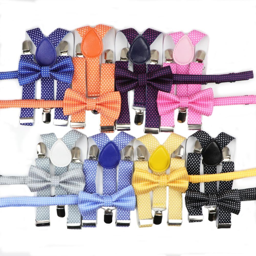 Children Belt Bowtie Set Baby Boys Suspenders Sets Polyester Y-Back Braces Dot Bow Tie Suit Adjustable Elastic Kids Suiting