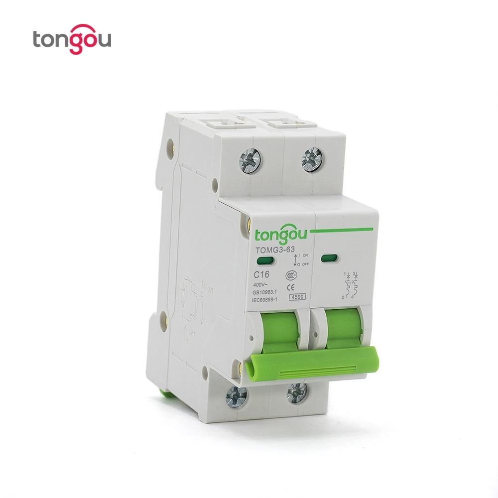 2 Pole 16a Mcb Miniatur Circuit Breaker C Typ Ac 110 V/230 V/400 V Ausschnitt Schalter Tomg3-63 Heimwerker Elektrische Ausrüstungen & Supplies