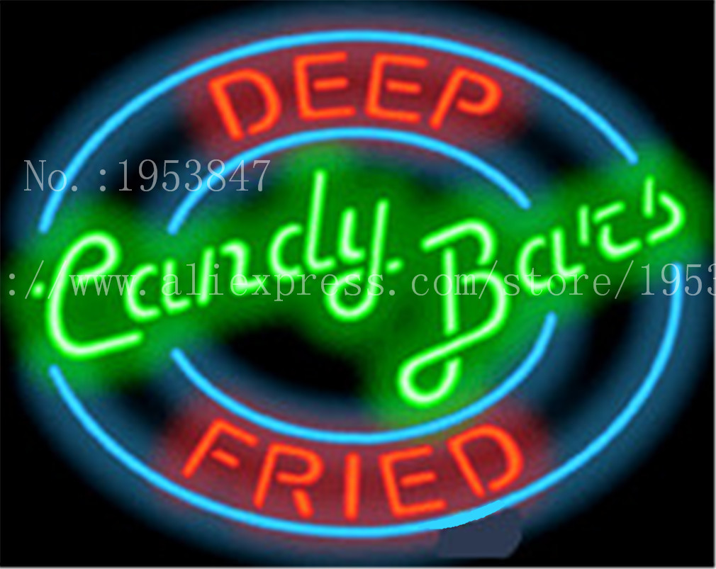 Barres de bonbons frites enseigne au néon barre lumineuse artisanale bière Pub Club verre Tube enseigne carnaval aliments signes décoration 19