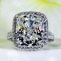 Виктория вик величественный ощущение 10ct топаз моделируется Cz 14KT белый женщин участие обручальное кольцо
