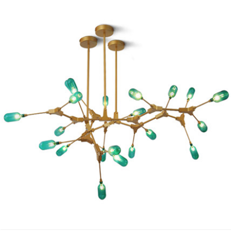 Modern simple green glass 7 lights chandelier Nordic creative G4 lighting LED living room decor golden adjustable molecular lampModern simple green glass 7 lights chandelier Nordic creative G4 lighting LED living room decor golden adjustable molecular lamp