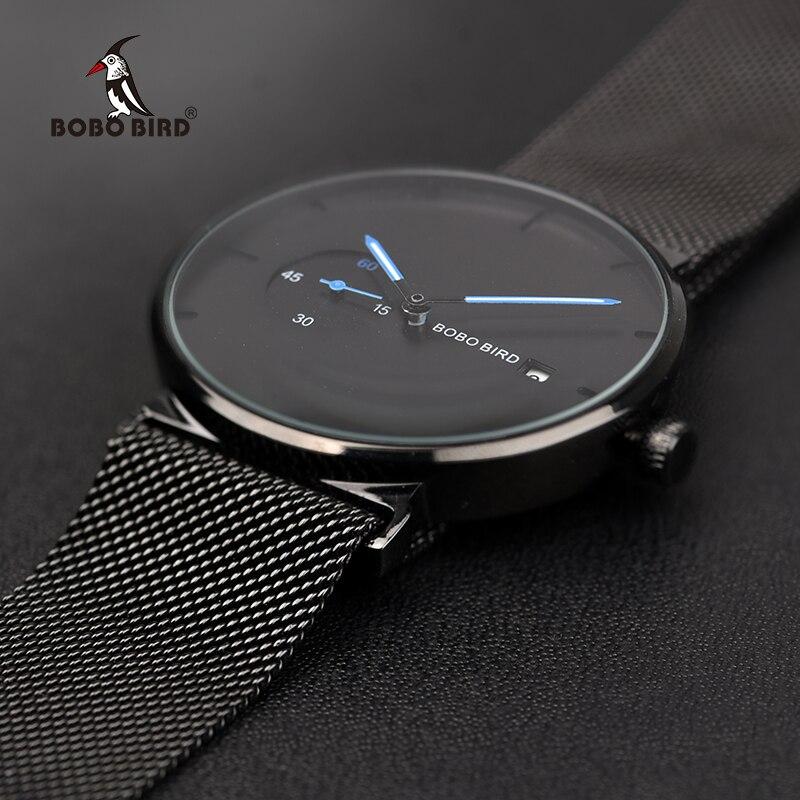 Erkek kol saatleri 2018 BOBO PÁSSARO Homens Assistir Simples Relógio de Aço Inoxidável Data de Exibição Quartz Relógios Presentes Da Família Transporte da gota