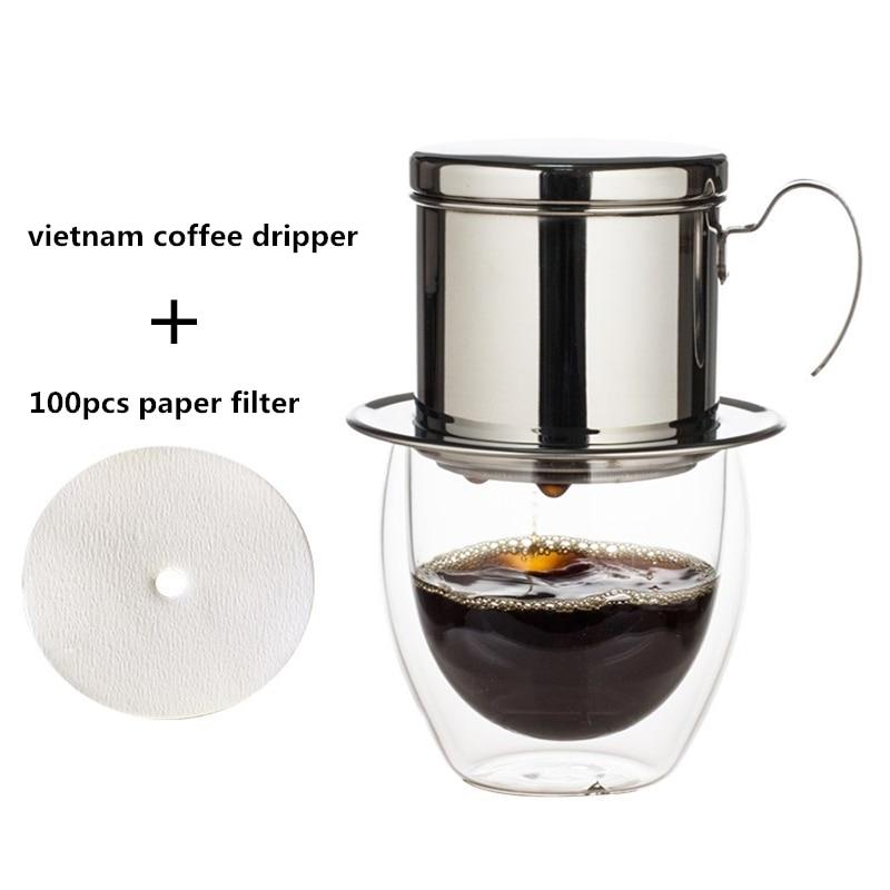 Stainless Steel Vietnam Coffee Dripper Filter Pot And 100pcs Paper Filter Set Vietnam Drip Pot Filter Cup Coffee Filter Tools