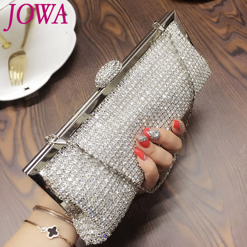 2017 New Womens Fashion Evening Bags Socialite Shiny Diamond Handbag Night Silver Purse Wedding Party Bride Clutch Chain Pocket