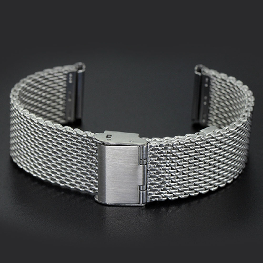 Silver High Quality Stainless Steel Mens Watch Band Web Mesh Watch Strap for Men Women Watches Push Botton Hidden Bracelet 2016 women diamond watches steel band vintage bracelet watch high quality ladies quartz watch