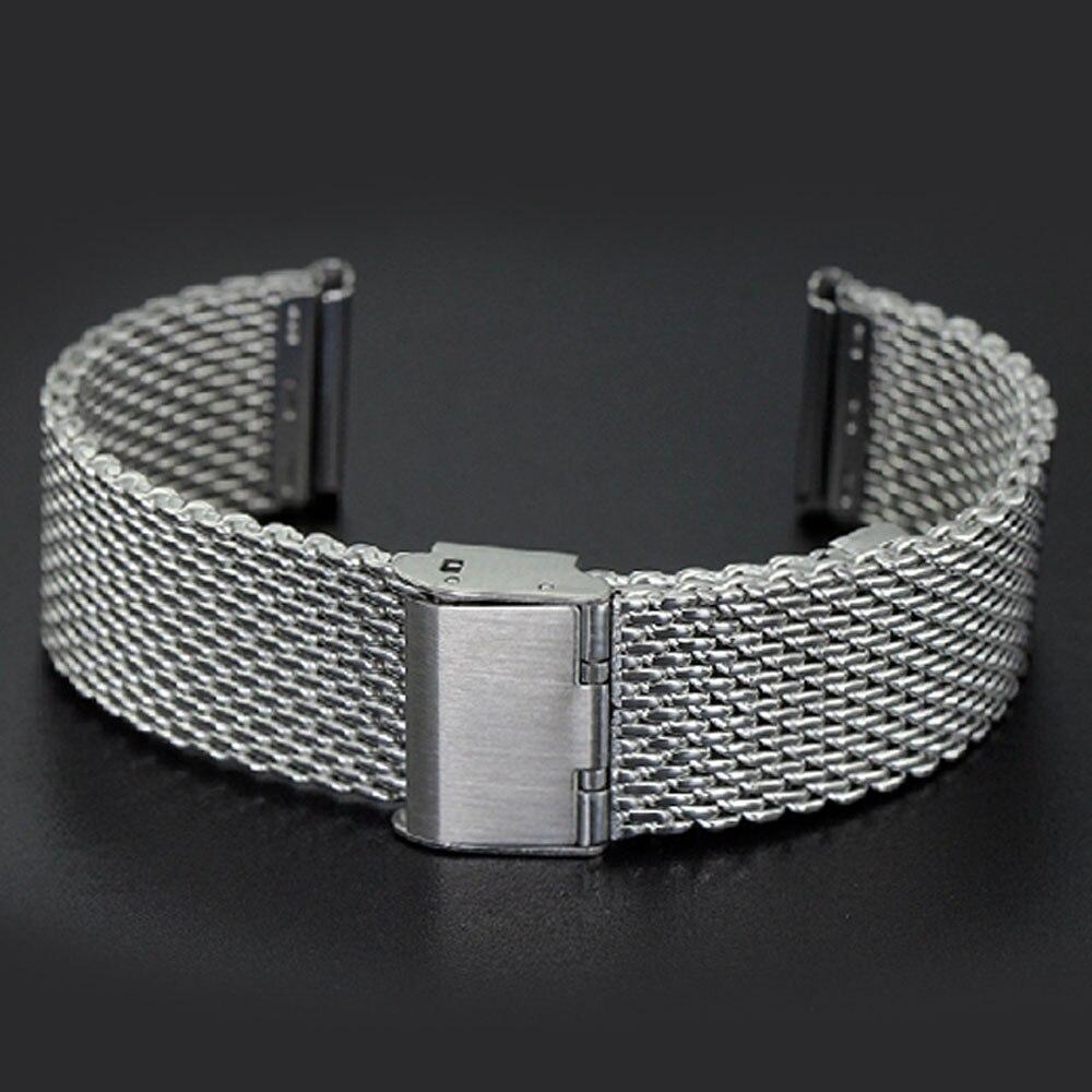 Silver High Quality Stainless Steel Mens Watch Band Web Mesh Watch Strap for Men Women Watches Push Botton Hidden Bracelet